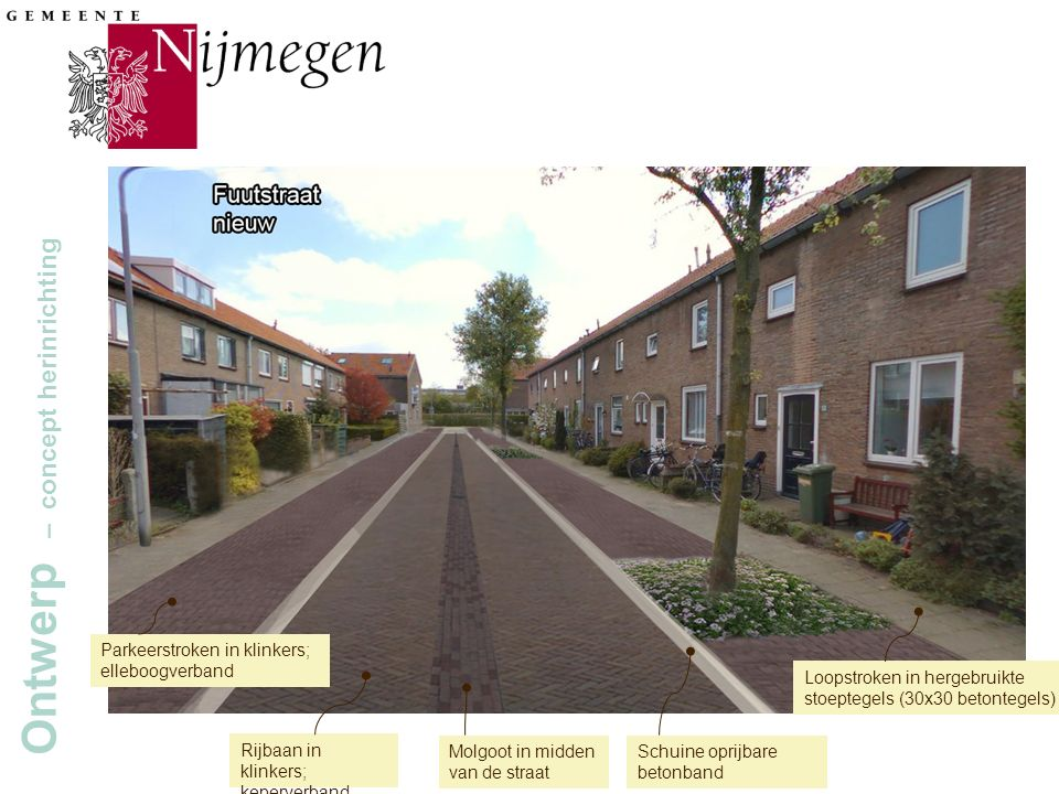 Gemeente Nijmegen Ontwerp – concept herinrichting Molgoot in midden van de straat Schuine oprijbare betonband Rijbaan in klinkers; keperverband Parkeerstroken in klinkers; elleboogverband Loopstroken in hergebruikte stoeptegels (30x30 betontegels)