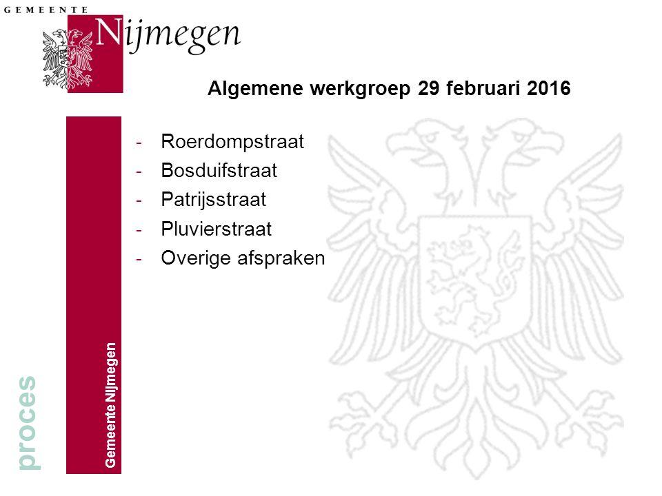 Gemeente Nijmegen Algemene werkgroep 29 februari 2016 - Roerdompstraat - Bosduifstraat - Patrijsstraat - Pluvierstraat - Overige afspraken proces