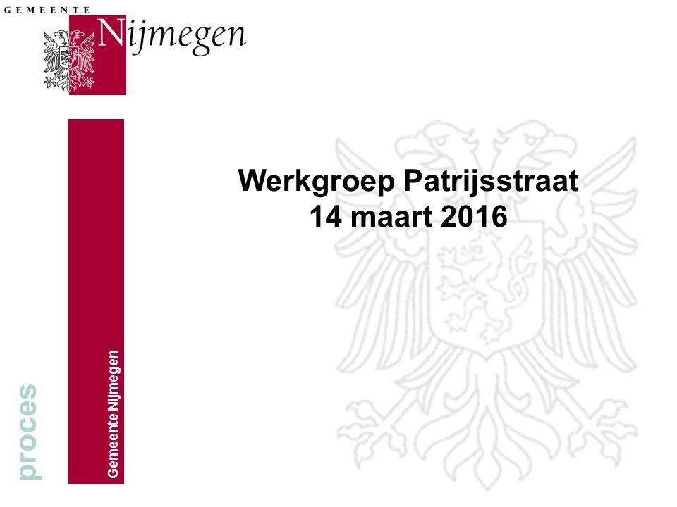 Gemeente Nijmegen Werkgroep Patrijsstraat 14 maart 2016 proces