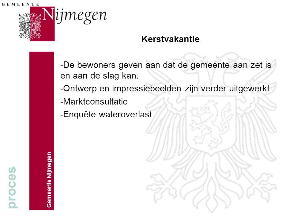 Gemeente Nijmegen Kerstvakantie - De bewoners geven aan dat de gemeente aan zet is en aan de slag kan.