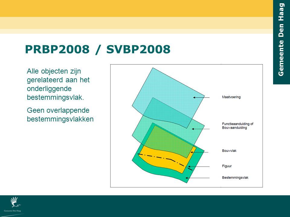 Gemeente Den Haag PRBP2008 / SVBP2008 Alle objecten zijn gerelateerd aan het onderliggende bestemmingsvlak. Geen overlappende bestemmingsvlakken