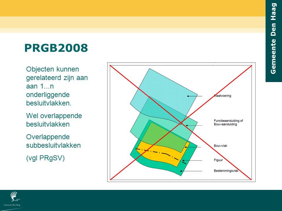Gemeente Den Haag PRGB2008 Objecten kunnen gerelateerd zijn aan aan 1...n onderliggende besluitvlakken. Wel overlappende besluitvlakken Overlappende s