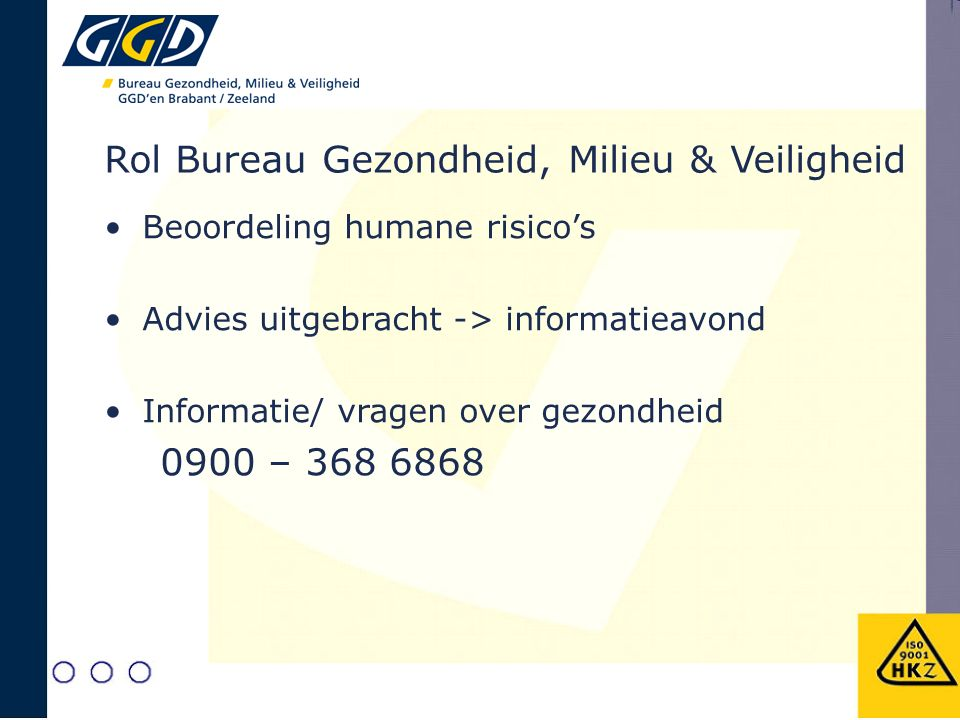 Rol Bureau Gezondheid, Milieu & Veiligheid Beoordeling humane risico's Advies uitgebracht -> informatieavond Informatie/ vragen over gezondheid 0900 –