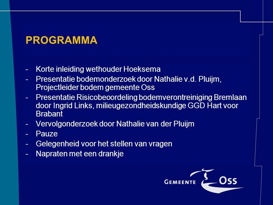 PROGRAMMA -Korte inleiding wethouder Hoeksema -Presentatie bodemonderzoek door Nathalie v.d. Pluijm, Projectleider bodem gemeente Oss -Presentatie Ris