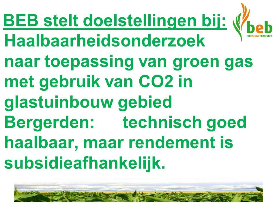 BEB stelt doelstellingen bij: Haalbaarheidsonderzoek naar toepassing van groen gas met gebruik van CO2 in glastuinbouw gebied Bergerden: technisch goed haalbaar, maar rendement is subsidieafhankelijk.