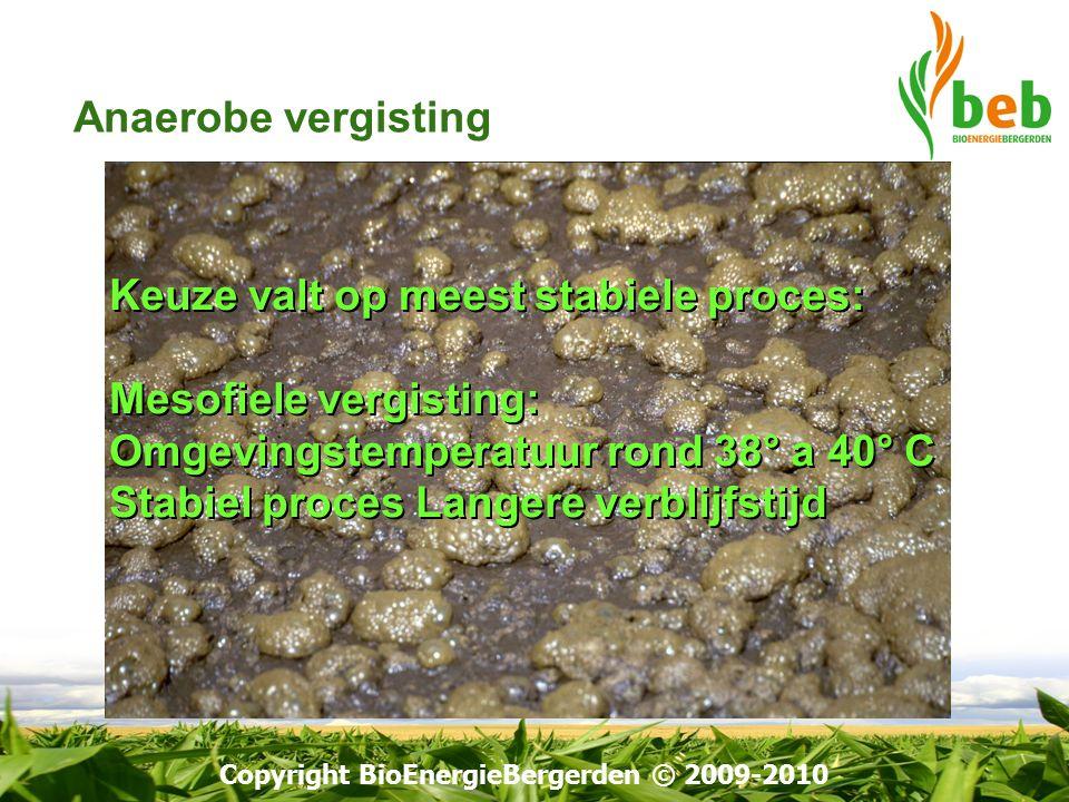 Copyright BioEnergieBergerden © 2009-2010 Keuze valt op meest stabiele proces: Mesofiele vergisting: Omgevingstemperatuur rond 38° a 40° C Stabiel pro