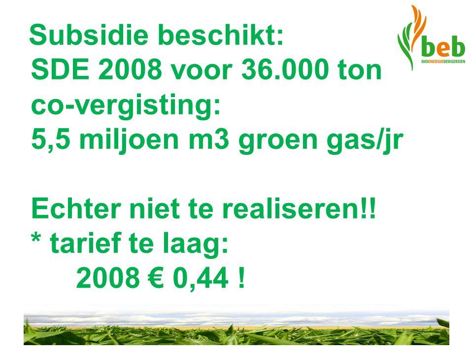 Subsidie beschikt: SDE 2008 voor 36.000 ton co-vergisting: 5,5 miljoen m3 groen gas/jr Echter niet te realiseren!! * tarief te laag: 2008 € 0,44 !