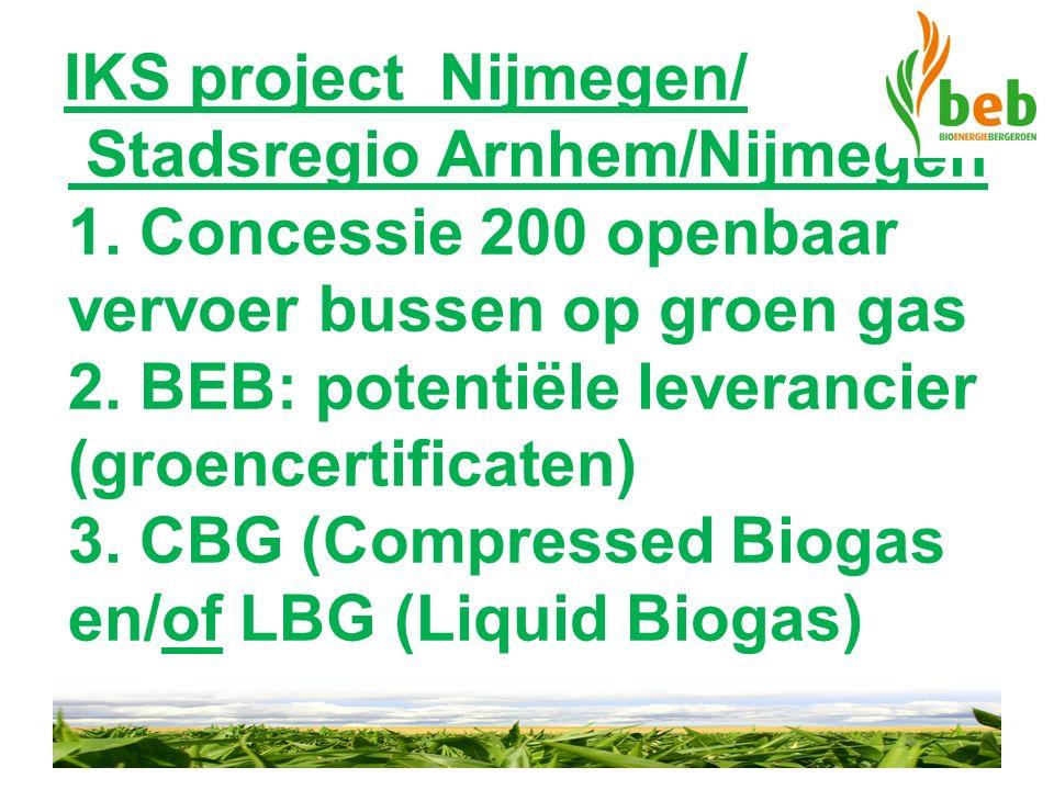 IKS project Nijmegen/ Stadsregio Arnhem/Nijmegen 1. Concessie 200 openbaar vervoer bussen op groen gas 2. BEB: potentiële leverancier (groencertificat