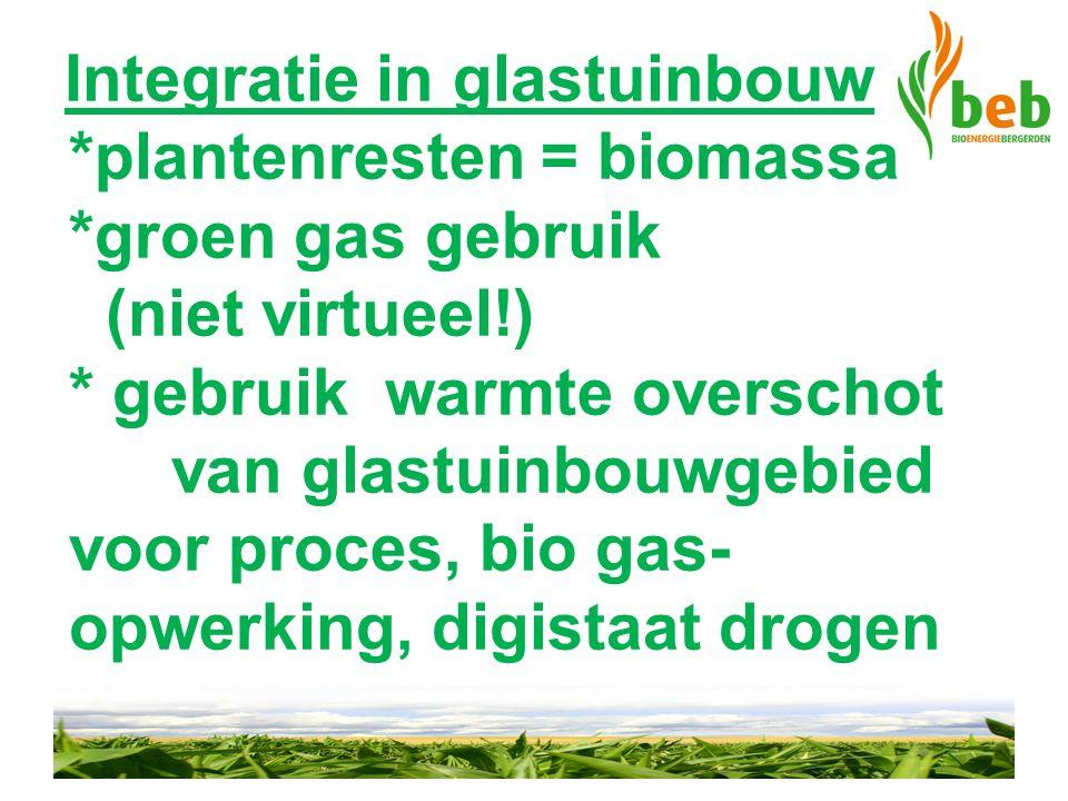 Integratie in glastuinbouw *plantenresten = biomassa *groen gas gebruik (niet virtueel!) * gebruik warmte overschot van glastuinbouwgebied voor proces
