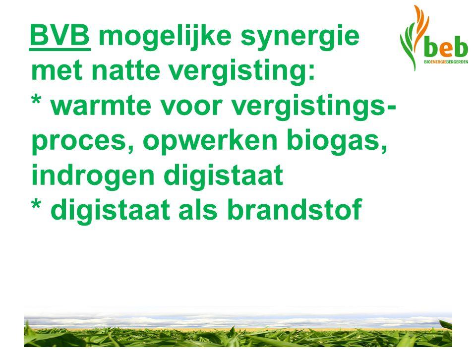 BVB mogelijke synergie met natte vergisting: * warmte voor vergistings- proces, opwerken biogas, indrogen digistaat * digistaat als brandstof