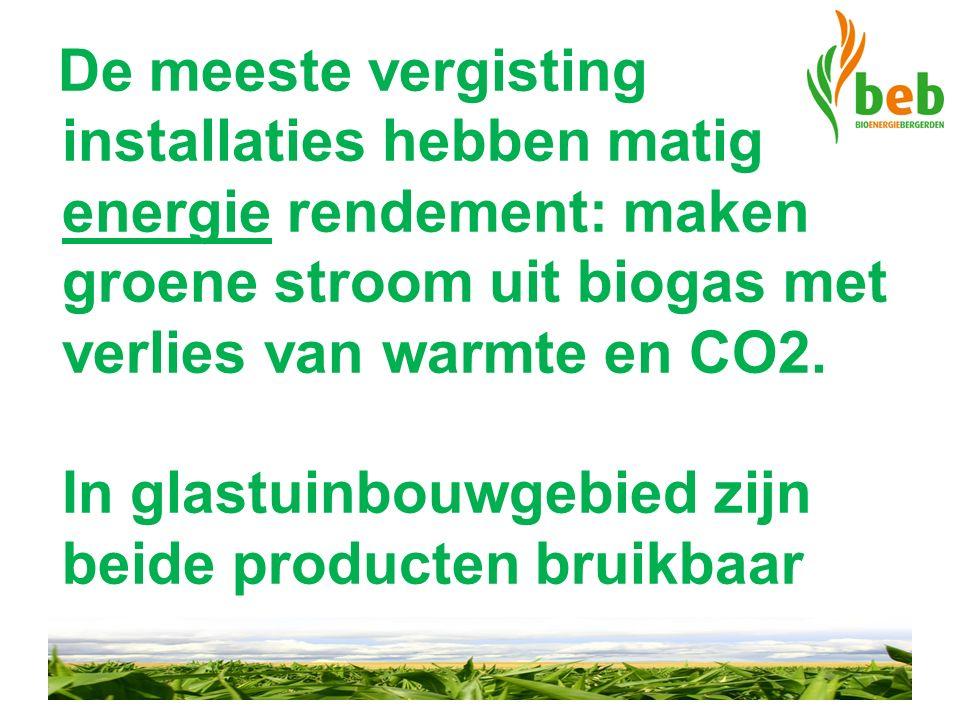 De meeste vergisting installaties hebben matig energie rendement: maken groene stroom uit biogas met verlies van warmte en CO2. In glastuinbouwgebied