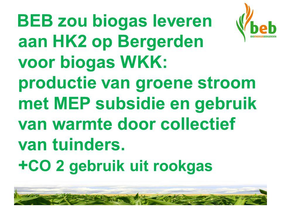 BEB zou biogas leveren aan HK2 op Bergerden voor biogas WKK: productie van groene stroom met MEP subsidie en gebruik van warmte door collectief van tu