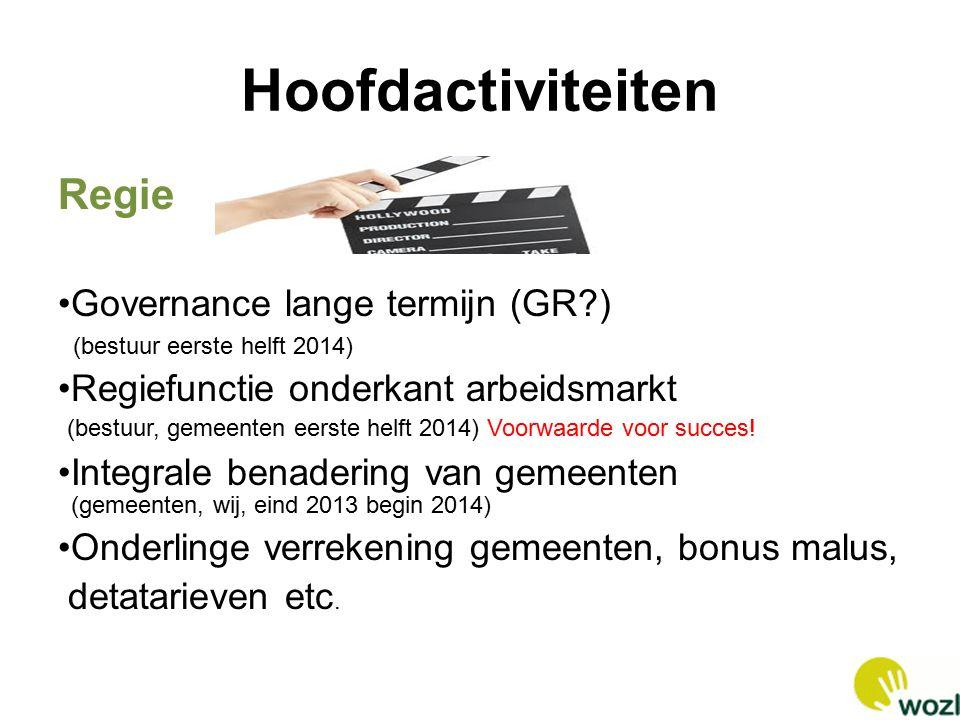 Hoofdactiviteiten Regie Governance lange termijn (GR?) (bestuur eerste helft 2014) Regiefunctie onderkant arbeidsmarkt (bestuur, gemeenten eerste helft 2014) Voorwaarde voor succes.