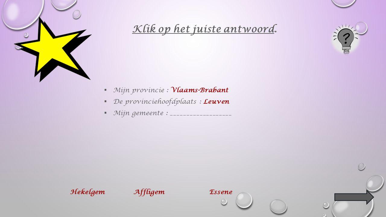  Mijn provincie : Vlaams-Brabant  De provinciehoofdplaats : ________________ Klik op het juiste antwoord.