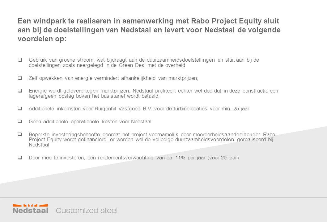 Een windpark te realiseren in samenwerking met Rabo Project Equity sluit aan bij de doelstellingen van Nedstaal en levert voor Nedstaal de volgende vo