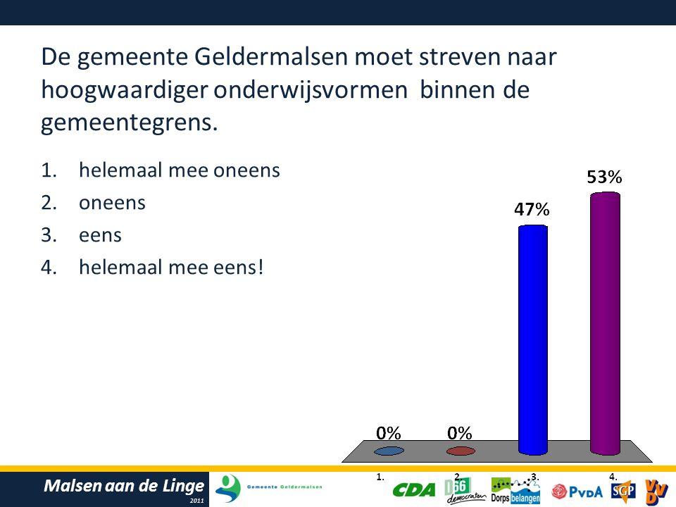 Malsen aan de Linge 2011 De gemeente Geldermalsen moet streven naar hoogwaardiger onderwijsvormen binnen de gemeentegrens.