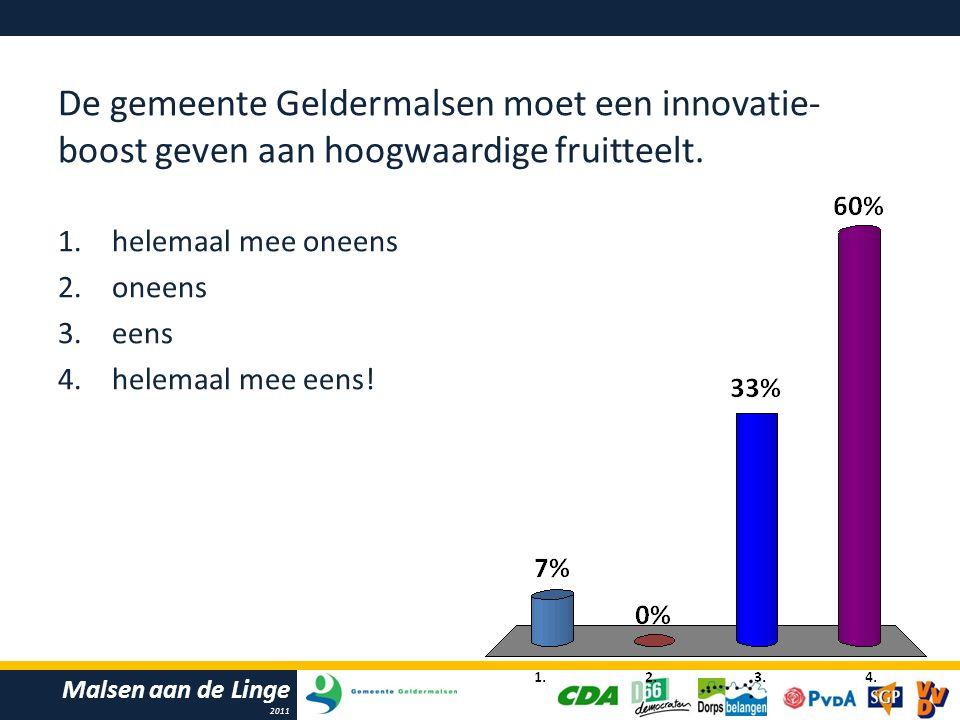 Malsen aan de Linge 2011 De gemeente Geldermalsen moet een innovatie- boost geven aan hoogwaardige fruitteelt.