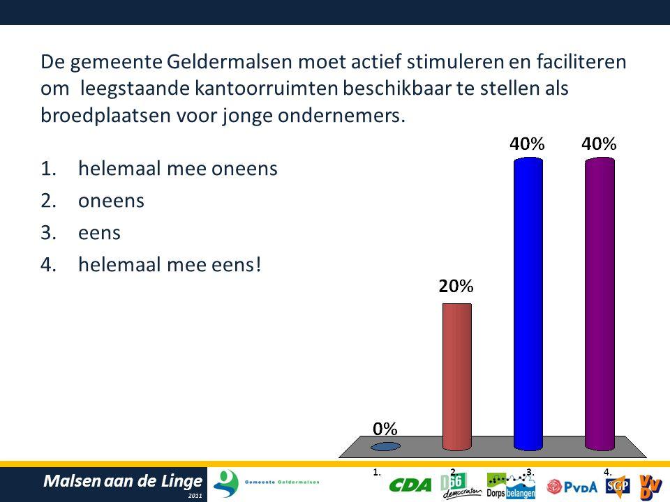 Malsen aan de Linge 2011 De gemeente Geldermalsen moet actief stimuleren en faciliteren om leegstaande kantoorruimten beschikbaar te stellen als broedplaatsen voor jonge ondernemers.