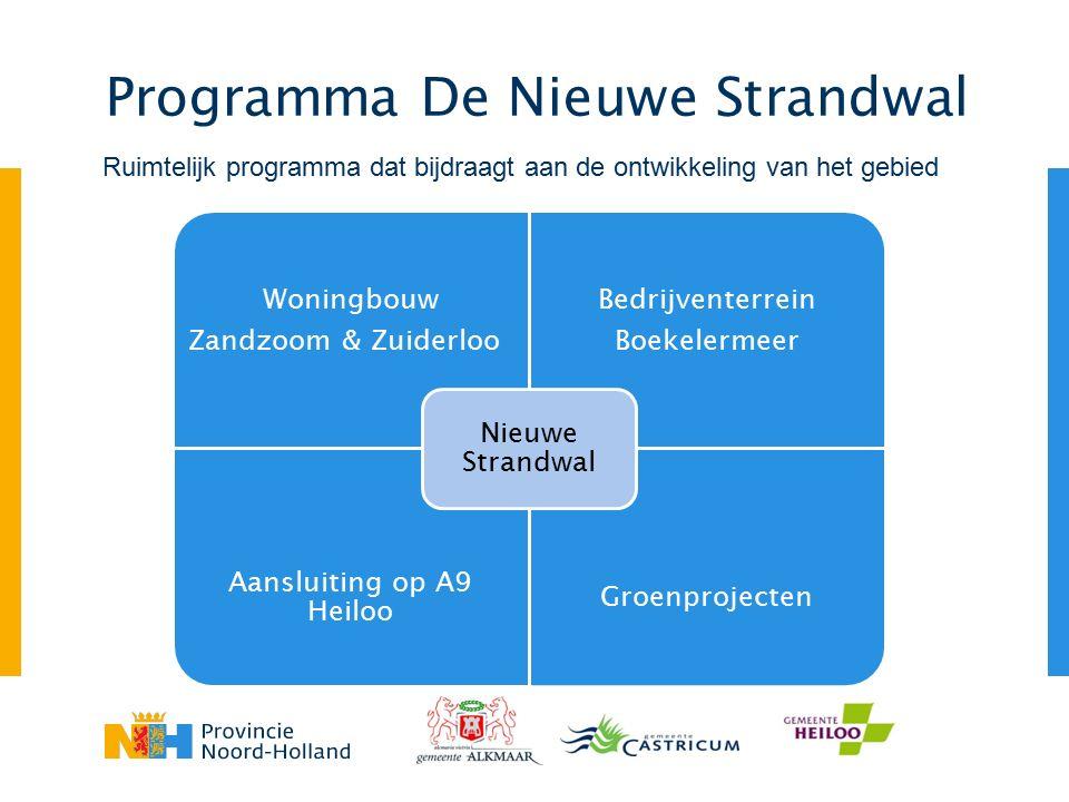 Programma De Nieuwe Strandwal Woningbouw Zandzoom & Zuiderloo Bedrijventerrein Boekelermeer Aansluiting op A9 Heiloo Groenprojecten Nieuwe Strandwal Ruimtelijk programma dat bijdraagt aan de ontwikkeling van het gebied