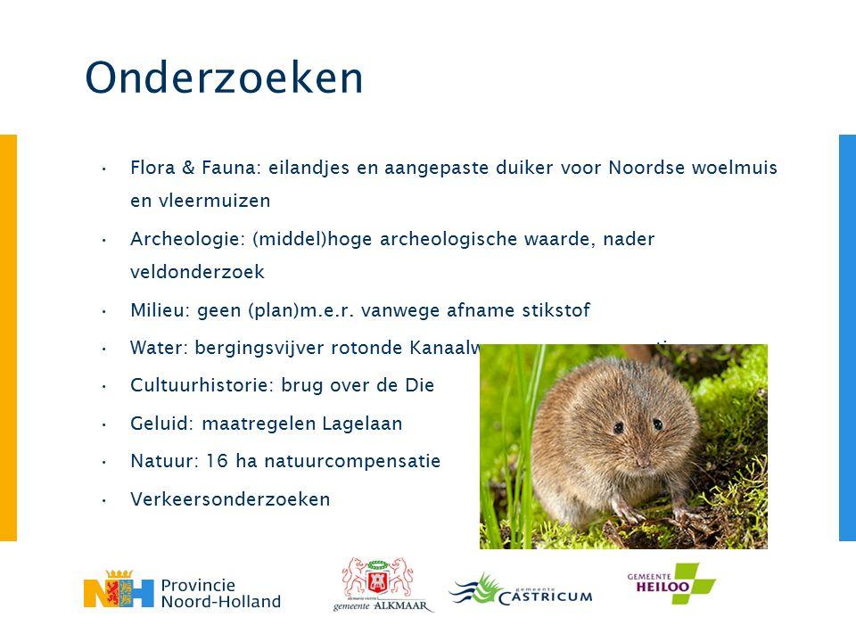 Onderzoeken Flora & Fauna: eilandjes en aangepaste duiker voor Noordse woelmuis en vleermuizen Archeologie: (middel)hoge archeologische waarde, nader veldonderzoek Milieu: geen (plan)m.e.r.