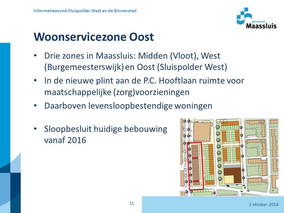 Woonservicezone Oost Sloopbesluit huidige bebouwing vanaf 2016 1 oktober 2014 Informatieavond Sluispolder West en de Binnenstad 11 Drie zones in Maassluis: Midden (Vloot), West (Burgemeesterswijk) en Oost (Sluispolder West) In de nieuwe plint aan de P.C.