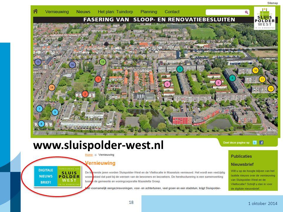 1 oktober 2014 Informatieavond Sluispolder West en de Binnenstad 18 www.sluispolder-west.nl