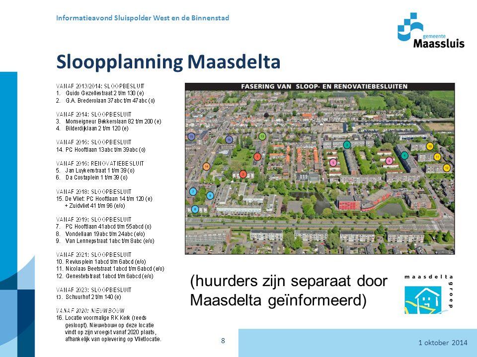 1 oktober 2014 Informatieavond Sluispolder West en de Binnenstad 8 Sloopplanning Maasdelta (huurders zijn separaat door Maasdelta geïnformeerd)
