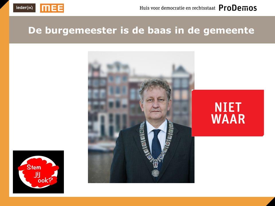 De burgemeester is de baas in de gemeente Niet War