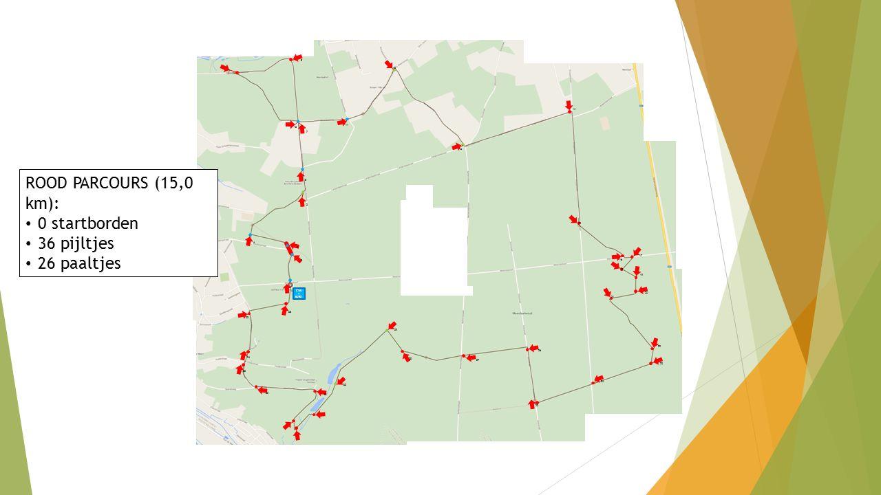 ROOD PARCOURS (15,0 km): 0 startborden 36 pijltjes 26 paaltjes STAR T BORD 1 2 3 4 5 6 7 10 11 8 9 12 13 14 15 16 17 18 19 20 21 22 23 24 25 27 26 28 29 30 31 32 33 34 35 36