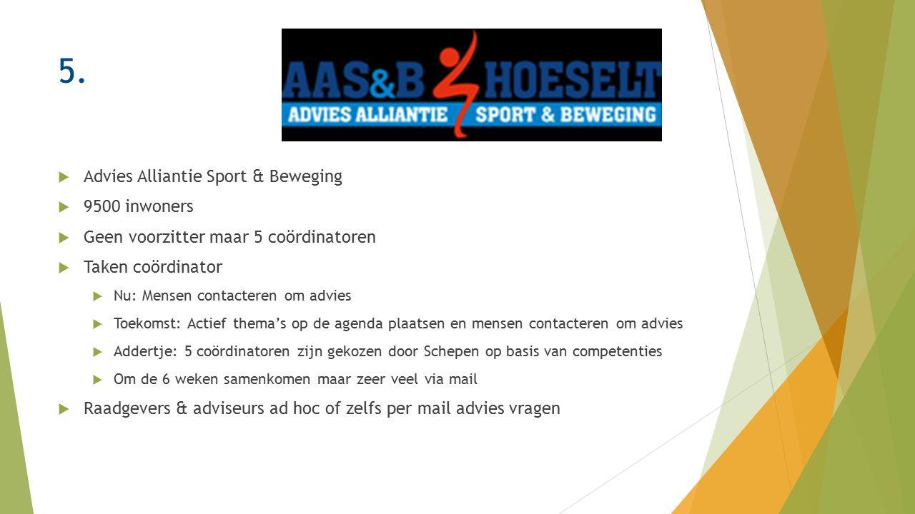 5.  Advies Alliantie Sport & Beweging  9500 inwoners  Geen voorzitter maar 5 coördinatoren  Taken coördinator  Nu: Mensen contacteren om advies 