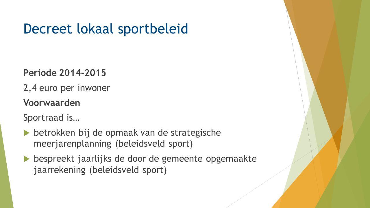 Decreet lokaal sportbeleid Periode 2014-2015 2,4 euro per inwoner Voorwaarden Sportraad is…  betrokken bij de opmaak van de strategische meerjarenplanning (beleidsveld sport)  bespreekt jaarlijks de door de gemeente opgemaakte jaarrekening (beleidsveld sport)