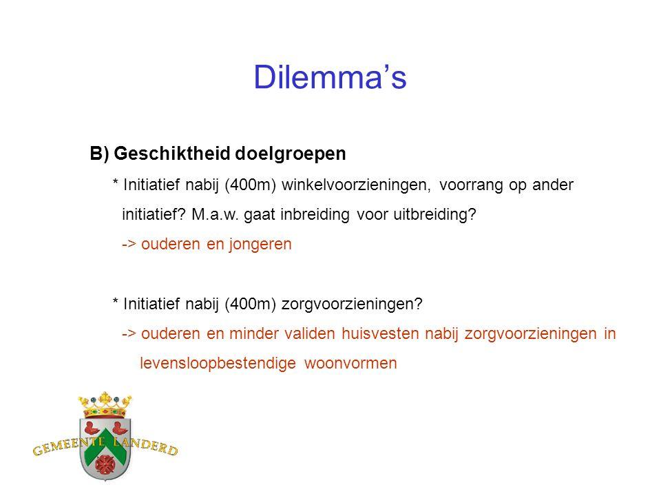 Dilemma's B) Geschiktheid doelgroepen * Initiatief nabij (400m) winkelvoorzieningen, voorrang op ander initiatief.