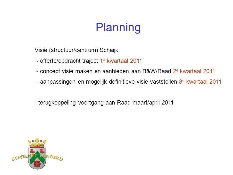 Planning Visie (structuur/centrum) Schaijk - offerte/opdracht traject 1 e kwartaal 2011 - concept visie maken en aanbieden aan B&W/Raad 2 e kwartaal 2011 - aanpassingen en mogelijk definitieve visie vaststellen 3 e kwartaal 2011 - terugkoppeling voortgang aan Raad maart/april 2011