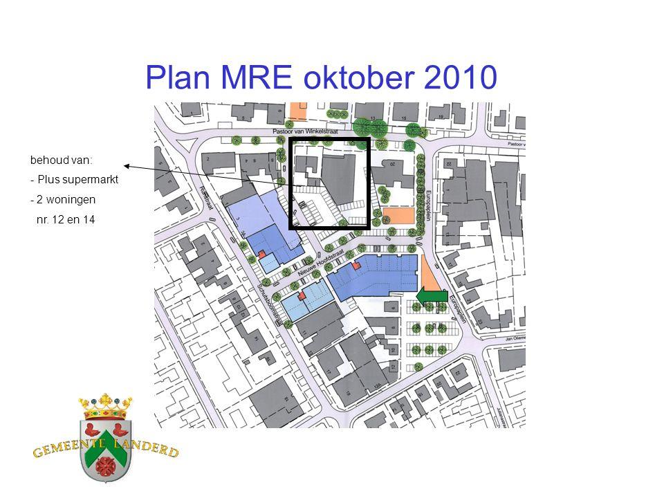 Plan MRE oktober 2010 behoud van: - Plus supermarkt - 2 woningen nr. 12 en 14