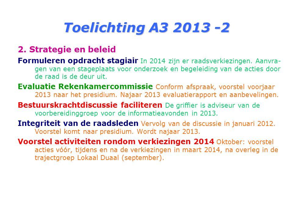 Toelichting A3 2013 -2 2. Strategie en beleid Formuleren opdracht stagiair In 2014 zijn er raadsverkiezingen. Aanvra- gen van een stageplaats voor ond
