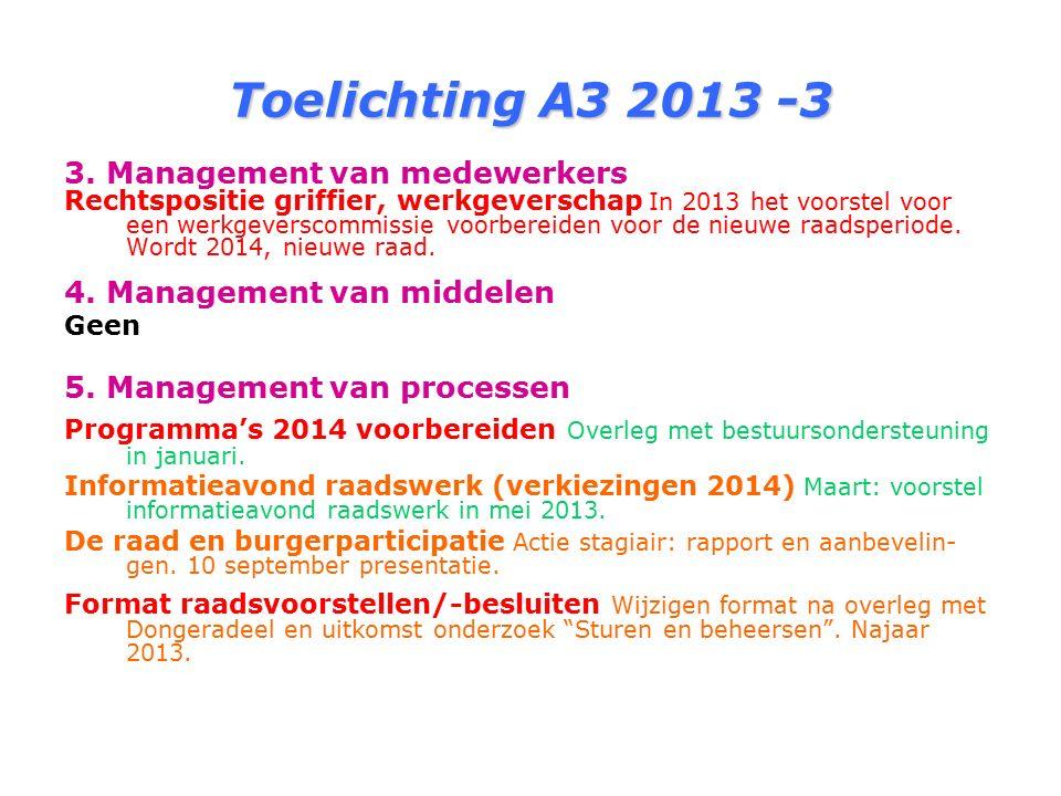 Toelichting A3 2013 -3 3. Management van medewerkers Rechtspositie griffier, werkgeverschap In 2013 het voorstel voor een werkgeverscommissie voorbere
