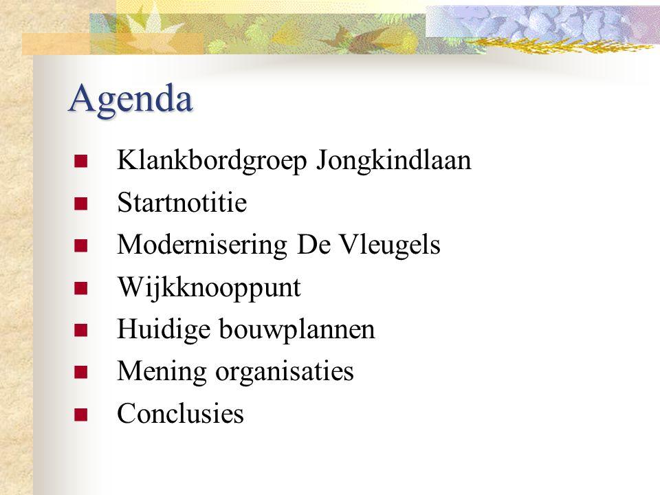 Agenda Klankbordgroep Jongkindlaan Startnotitie Modernisering De Vleugels Wijkknooppunt Huidige bouwplannen Mening organisaties Conclusies