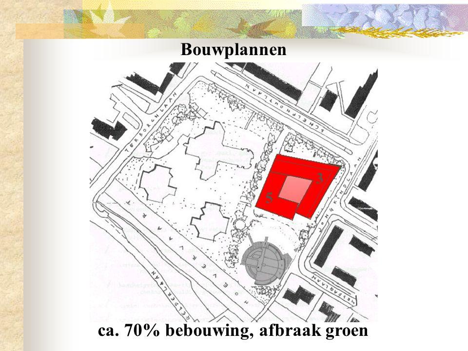 Bouwplannen ca. 70% bebouwing, afbraak groen 5 3