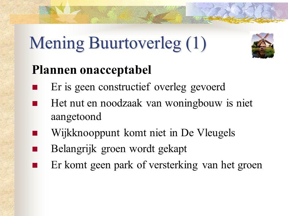 Mening Buurtoverleg (1) Plannen onacceptabel Er is geen constructief overleg gevoerd Het nut en noodzaak van woningbouw is niet aangetoond Wijkknooppu