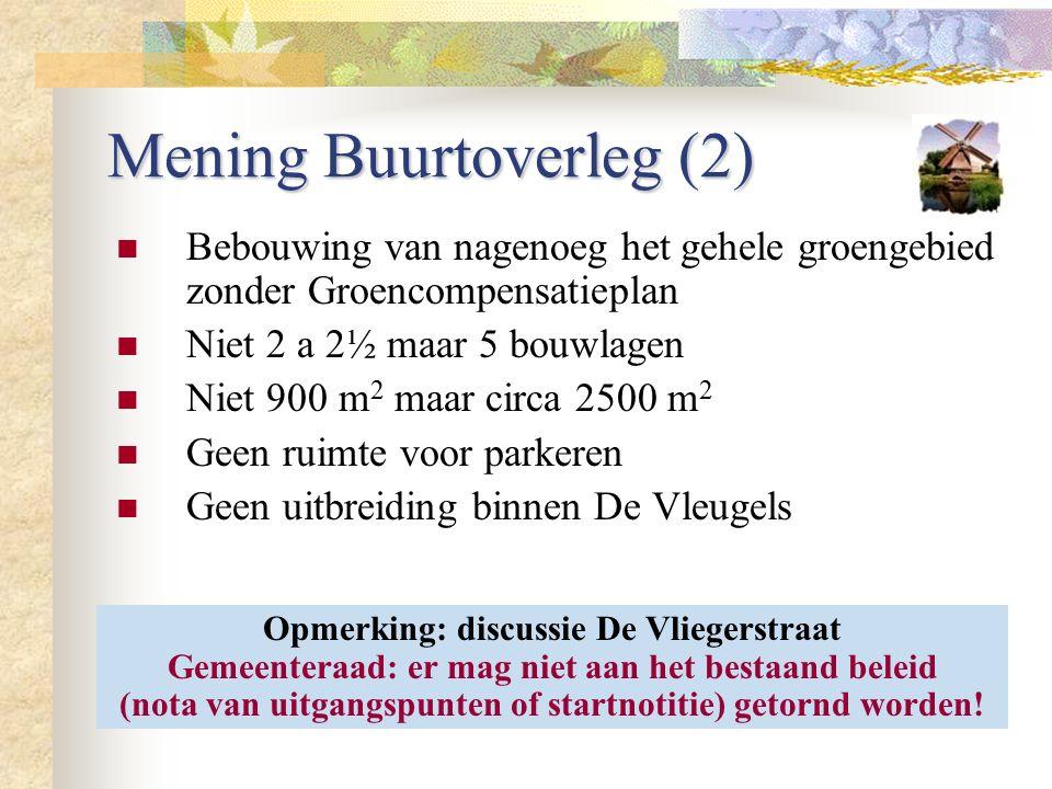 Mening Buurtoverleg (2) Bebouwing van nagenoeg het gehele groengebied zonder Groencompensatieplan Niet 2 a 2½ maar 5 bouwlagen Niet 900 m 2 maar circa