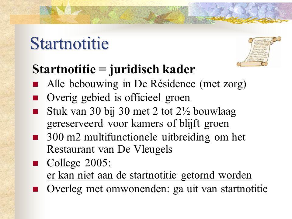 Startnotitie Startnotitie = juridisch kader Alle bebouwing in De Résidence (met zorg) Overig gebied is officieel groen Stuk van 30 bij 30 met 2 tot 2½