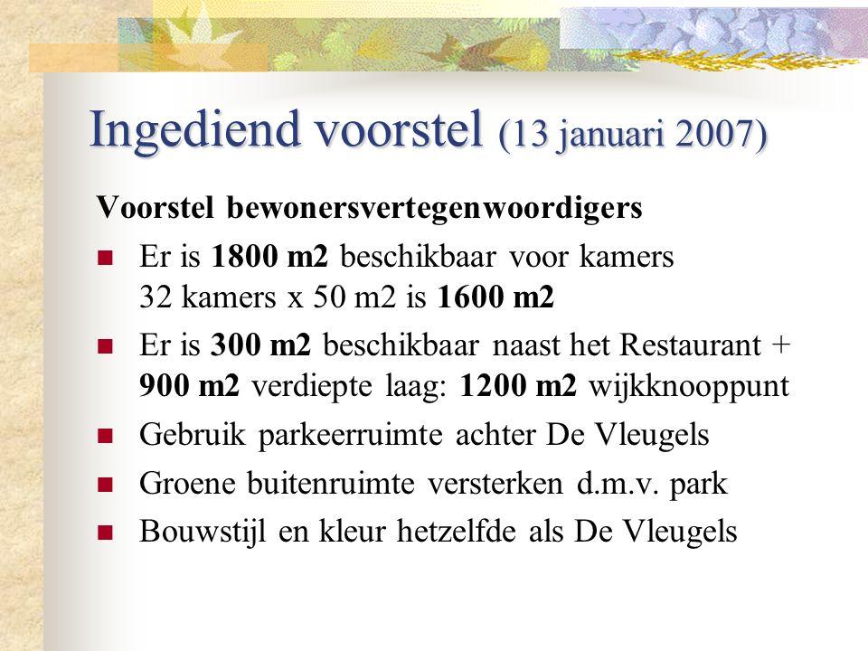 Ingediend voorstel (13 januari 2007) Voorstel bewonersvertegenwoordigers Er is 1800 m2 beschikbaar voor kamers 32 kamers x 50 m2 is 1600 m2 Er is 300