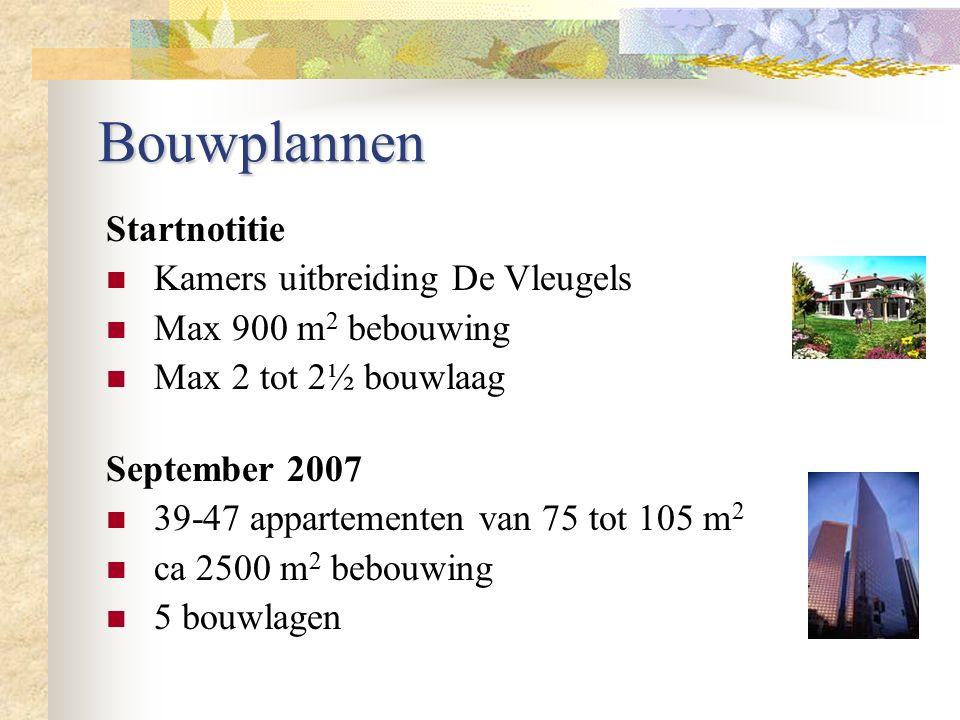 Bouwplannen September 2007 39-47 appartementen van 75 tot 105 m 2 ca 2500 m 2 bebouwing 5 bouwlagen Startnotitie Kamers uitbreiding De Vleugels Max 90
