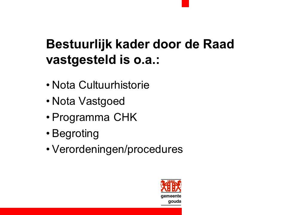 Bestuurlijk kader door de Raad vastgesteld is o.a.: Nota Cultuurhistorie Nota Vastgoed Programma CHK Begroting Verordeningen/procedures