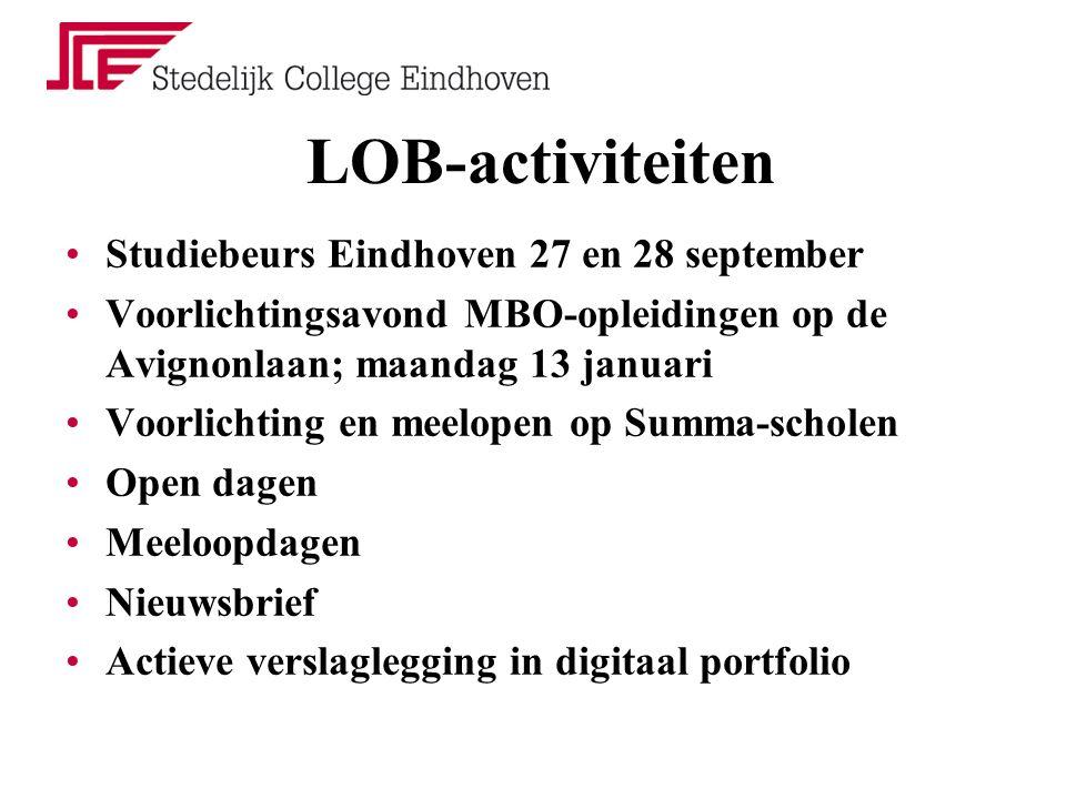 LOB-activiteiten Studiebeurs Eindhoven 27 en 28 september Voorlichtingsavond MBO-opleidingen op de Avignonlaan; maandag 13 januari Voorlichting en meelopen op Summa-scholen Open dagen Meeloopdagen Nieuwsbrief Actieve verslaglegging in digitaal portfolio