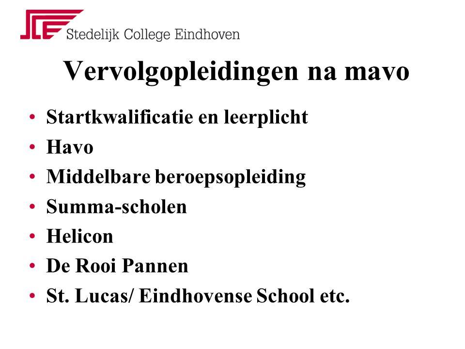Vervolgopleidingen na mavo Startkwalificatie en leerplicht Havo Middelbare beroepsopleiding Summa-scholen Helicon De Rooi Pannen St.