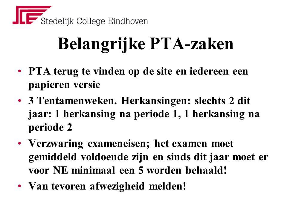 Belangrijke PTA-zaken PTA terug te vinden op de site en iedereen een papieren versie 3 Tentamenweken.