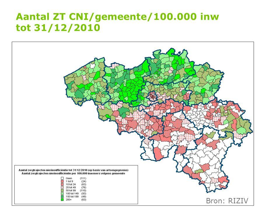 Aantal ZT CNI/gemeente/100.000 inw tot 31/12/2010 Bron: RIZIV