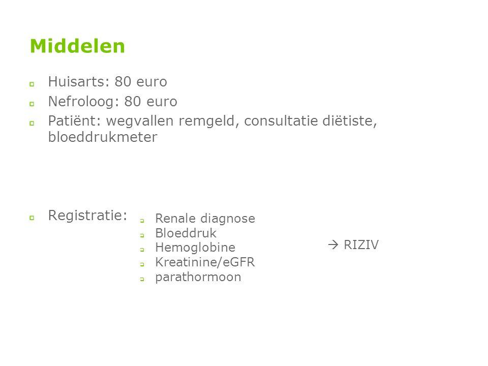Middelen Huisarts: 80 euro Nefroloog: 80 euro Patiënt: wegvallen remgeld, consultatie diëtiste, bloeddrukmeter Registratie:  Renale diagnose  Bloeddruk  Hemoglobine  Kreatinine/eGFR  parathormoon  RIZIV
