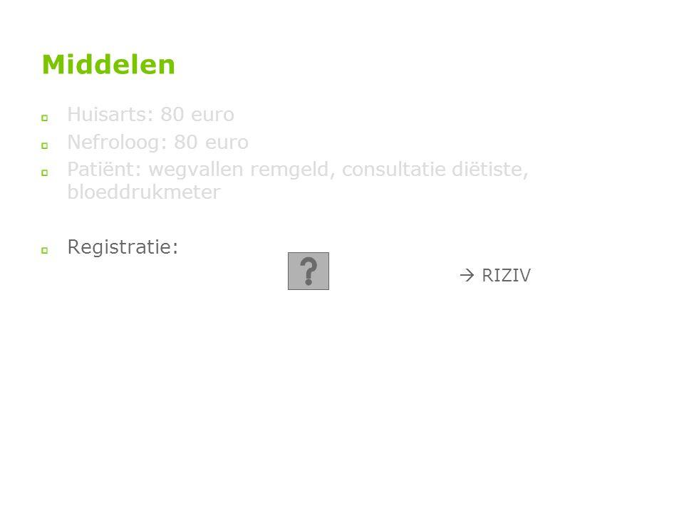 Middelen Huisarts: 80 euro Nefroloog: 80 euro Patiënt: wegvallen remgeld, consultatie diëtiste, bloeddrukmeter Registratie:  RIZIV